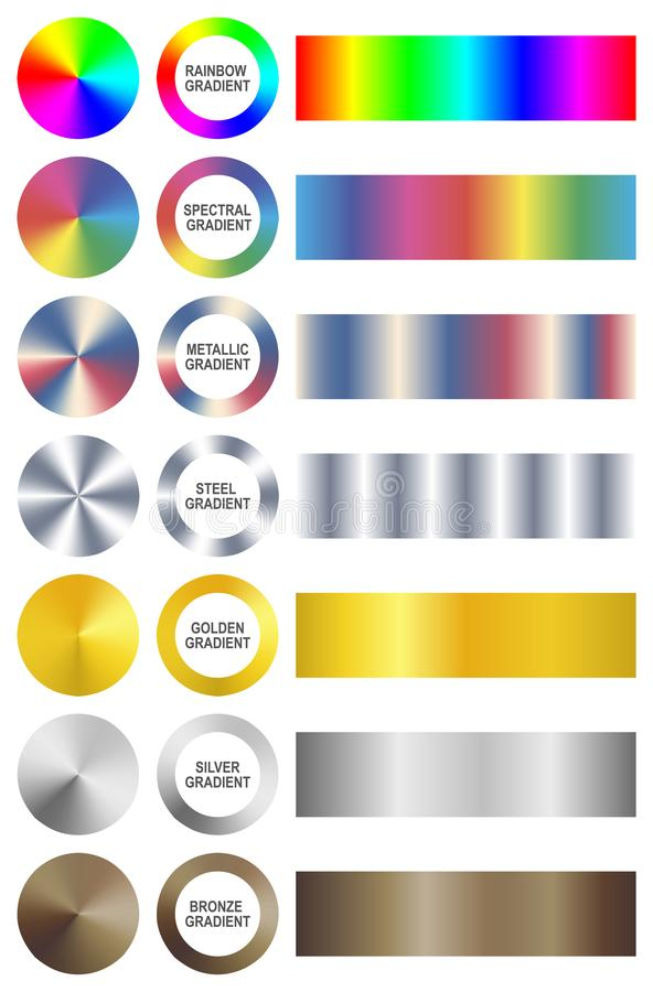 Комплект ярких всеобщих градиентов также вектор иллюстрации притяжки corel бесплатная иллюстрация