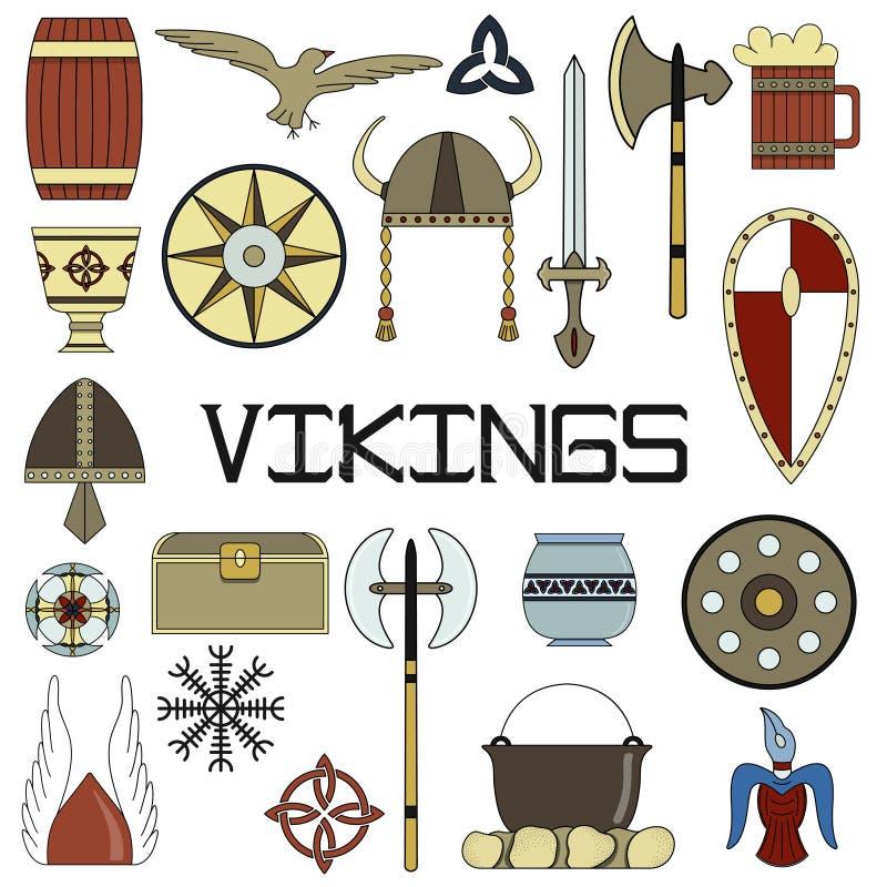Комплект ярких иллюстраций вектора для дизайна Викингов иллюстрация вектора