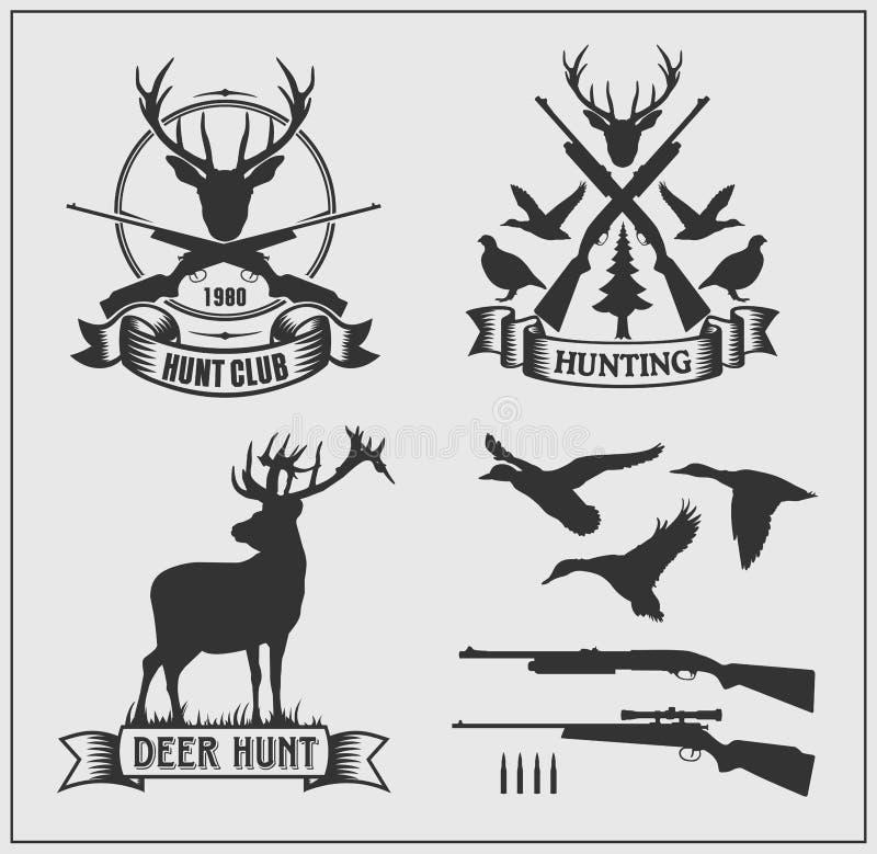 Комплект ярлыков клуба звероловства, значков и элементов дизайна бесплатная иллюстрация