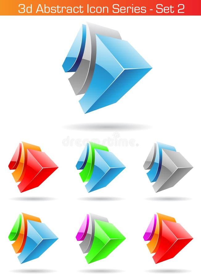 комплект 2 абстрактный серий иконы 3d иллюстрация вектора