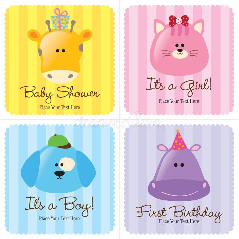 комплект 3 сортированный карточек младенца иллюстрация вектора