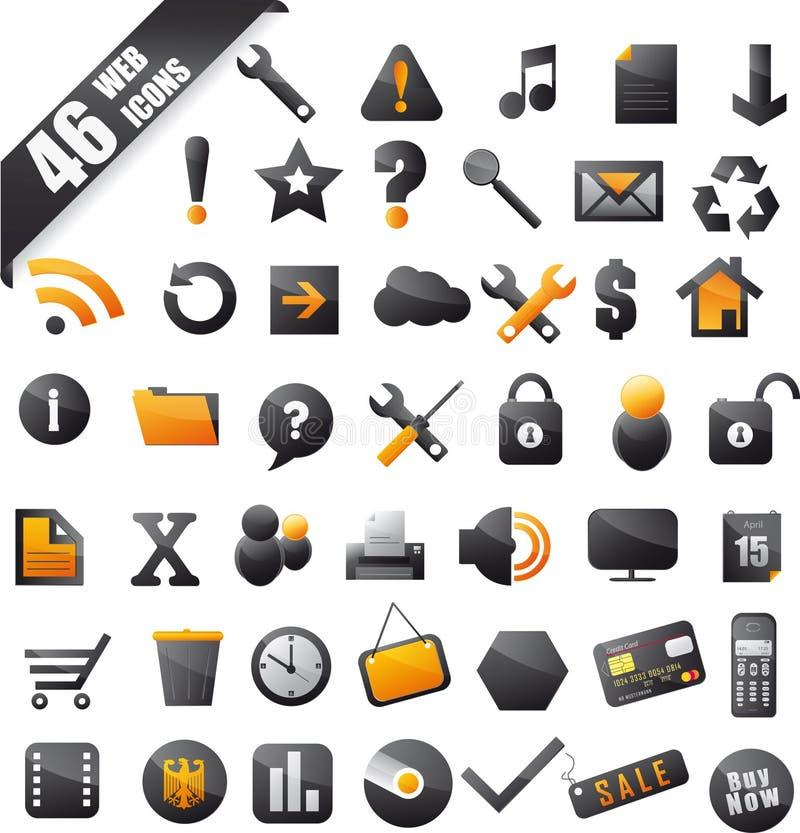 Комплект 46 популярных икон на померанце черноты сети иллюстрация вектора