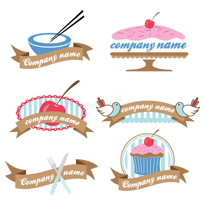 Комплект 6 ретро логосов кулинарии иллюстрация вектора
