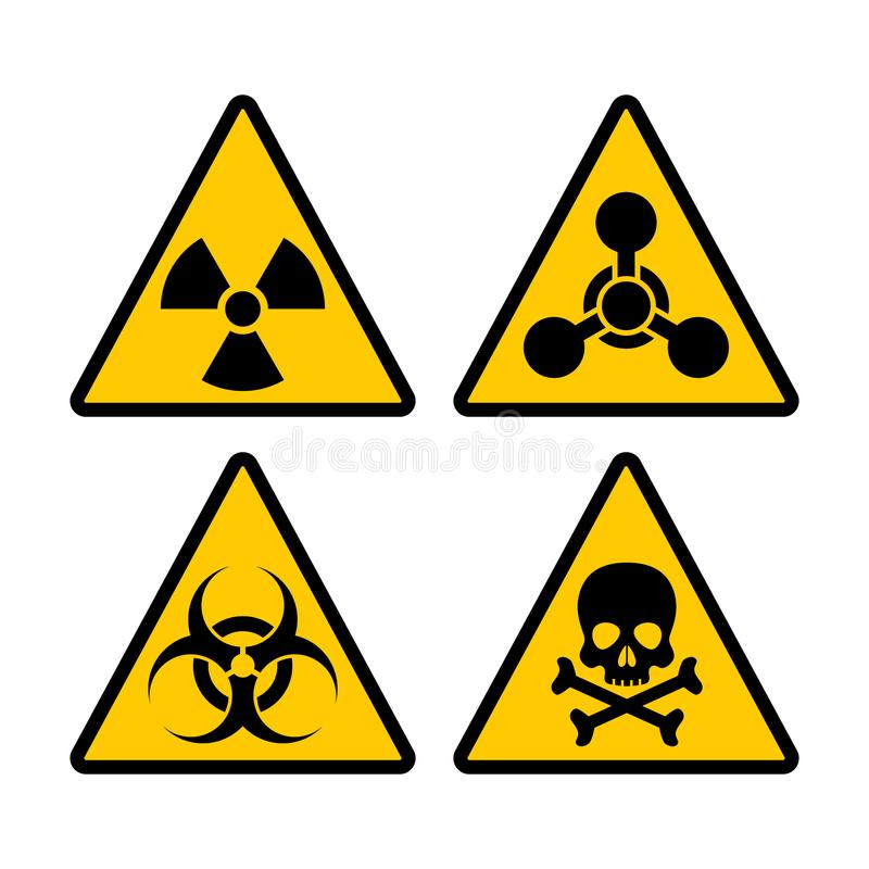 Комплект biohazard желтого треугольника предупреждающий, радиоактивных и токсических знака Biohazard, sti символа вектора химичес иллюстрация вектора