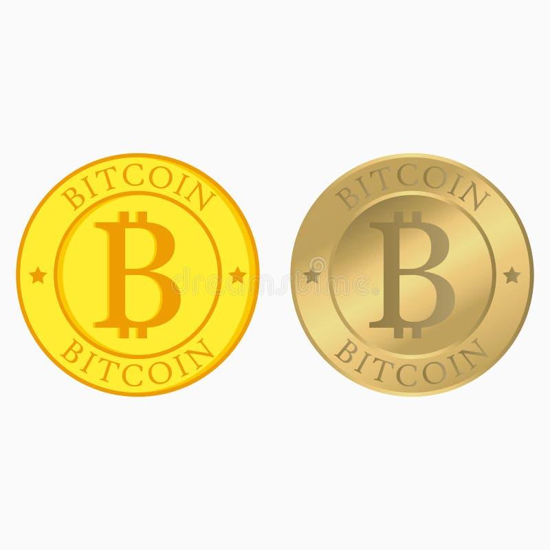 Комплект Bitcoin Собрание Cryptocurrency с плоскими и реалистическими золотыми монетками Деньги интернета вектор иллюстрация штока
