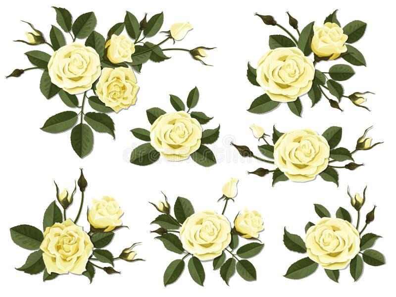 Комплект boutonniere розы желтого цвета бесплатная иллюстрация