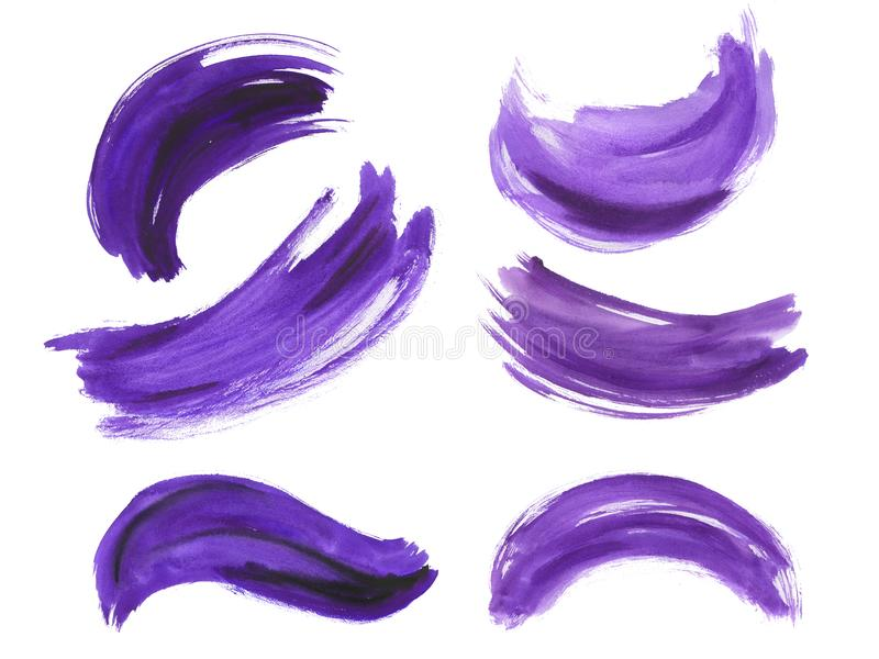 Комплект brushstroke акварели ультрафиолетов иллюстрация штока
