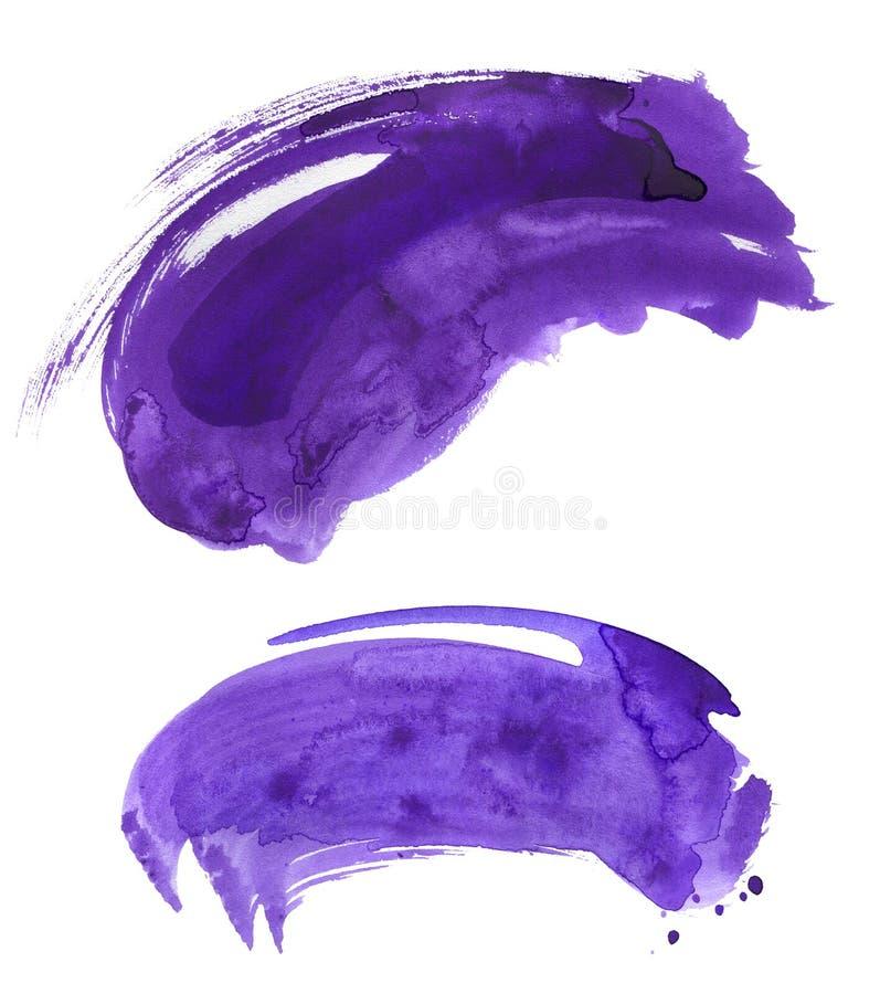 Комплект brushstroke акварели ультрафиолетов иллюстрация вектора