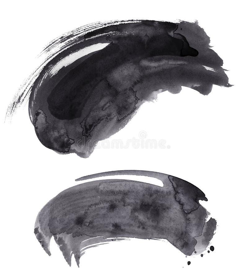 Комплект brushstroke акварели черный иллюстрация вектора