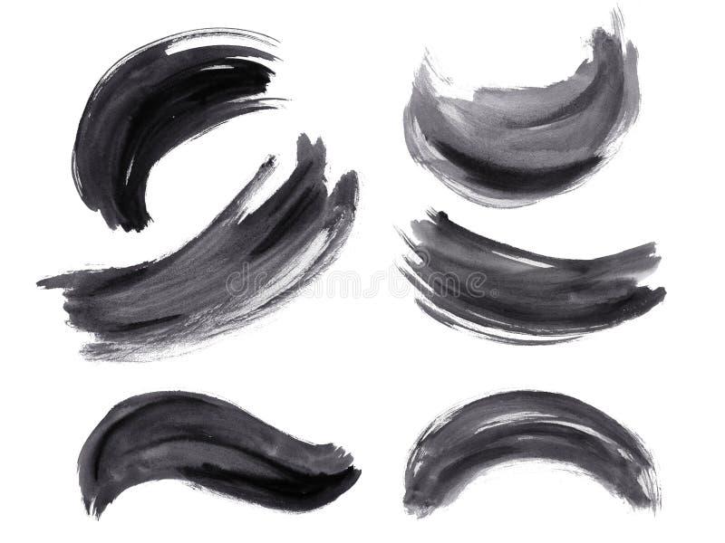 Комплект brushstroke акварели черный бесплатная иллюстрация