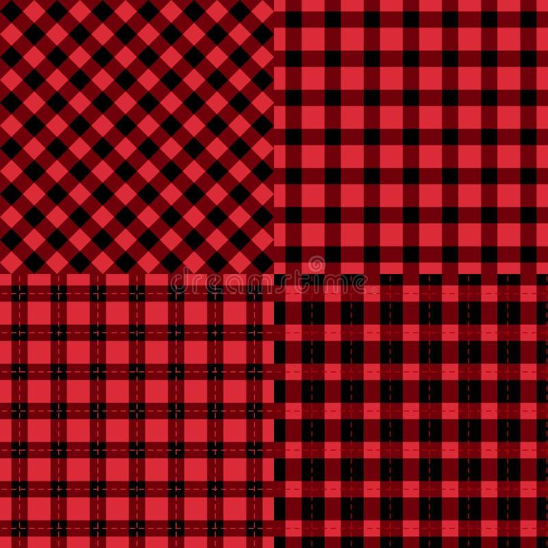 Комплект checkered черных и красных безшовных картин Предпосылки моды вектора иллюстрация вектора
