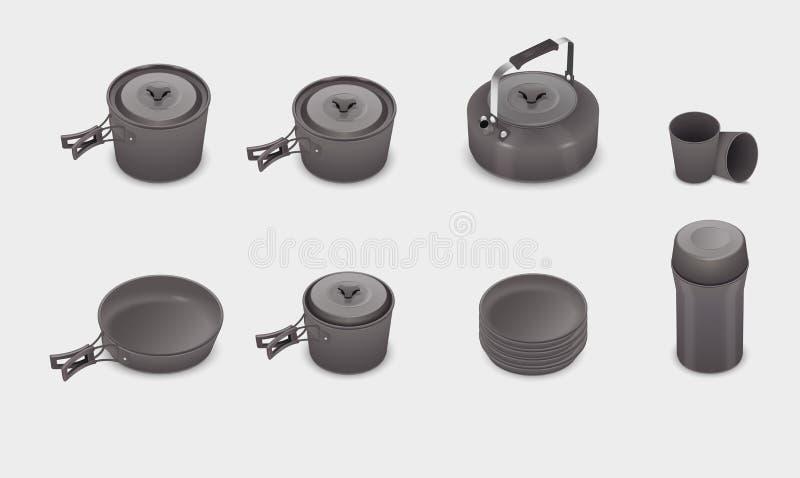 Комплект cookware кухни вектора реалистический иллюстрация штока