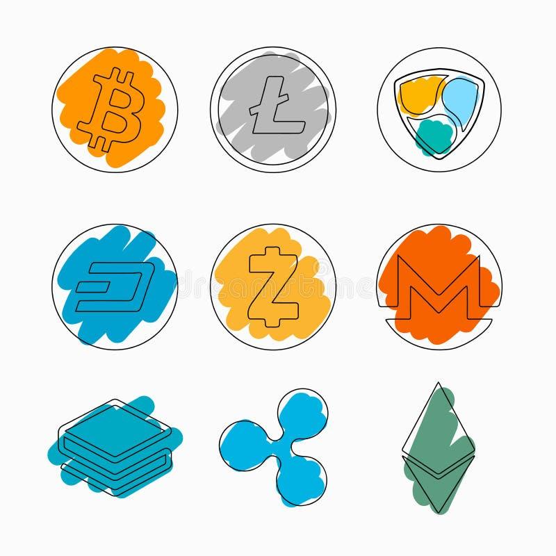 Комплект cryptocurrencies на белой предпосылке с акцентом цвета Изображение концепции сделанное с тонкими линиями в стиле плана иллюстрация штока