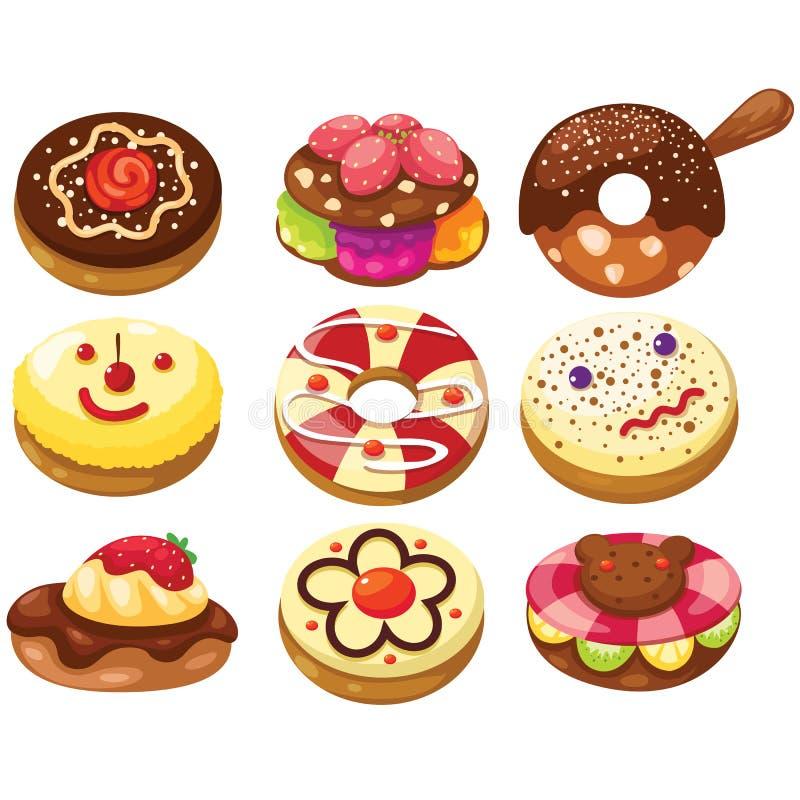 Комплект donuts иллюстрация вектора