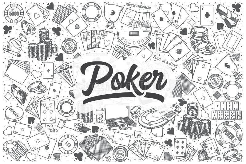 Комплект doodle вектора вычерченного покера руки бесплатная иллюстрация