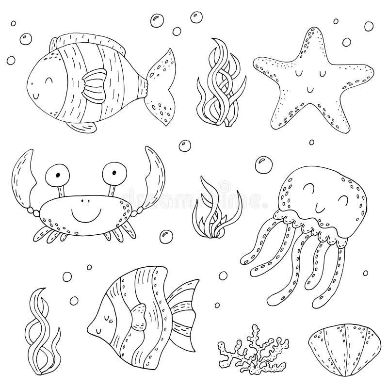 Комплект doodle вектора иллюстрации элементов морской флоры и фауны Подводное собрание мира Значки и эскиз чертежа руки символов иллюстрация штока