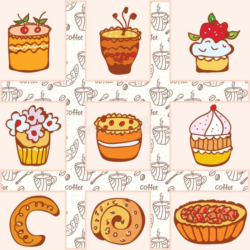 комплект doodle тортов бесплатная иллюстрация