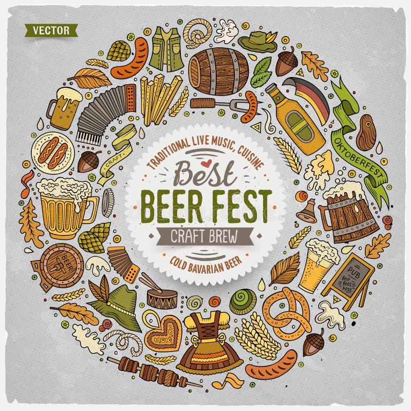 Комплект doodle шаржа фестиваля пива возражает вокруг рамки иллюстрация вектора