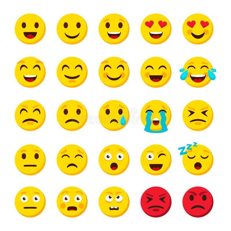 Комплект Emoji Значки вектора объектов болтовни символов emojis мультфильма смайлика цифровые иллюстрация штока