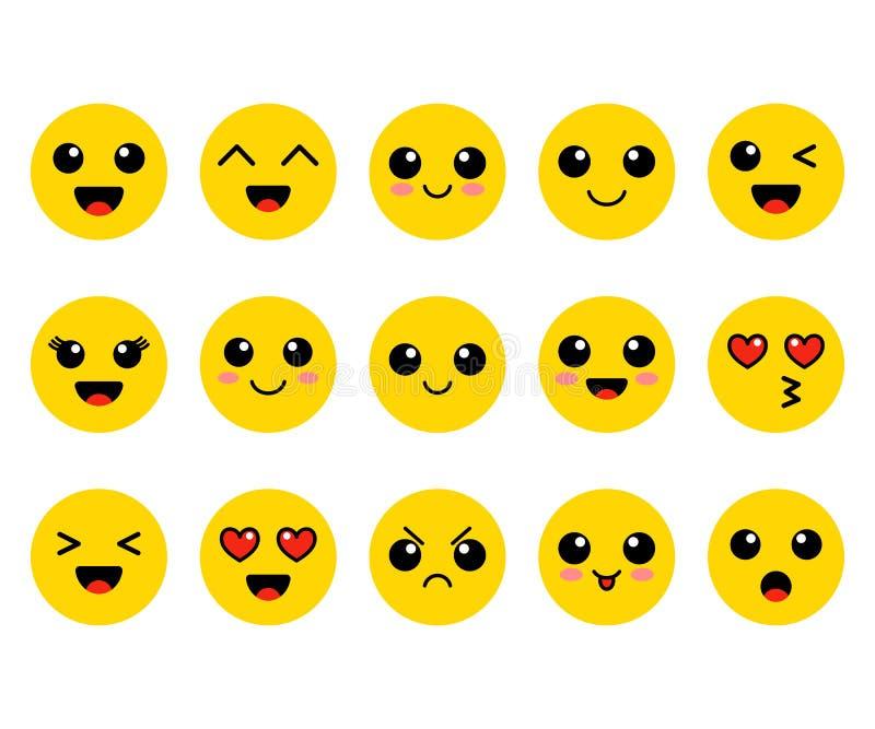 Комплект Emoji Стороны желтого цвета Kawai Милые смайлики плоско также вектор иллюстрации притяжки corel иллюстрация вектора