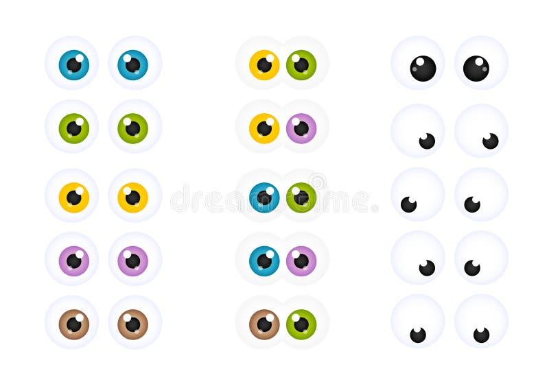 Комплект Googly глаз шаржа иллюстрация штока