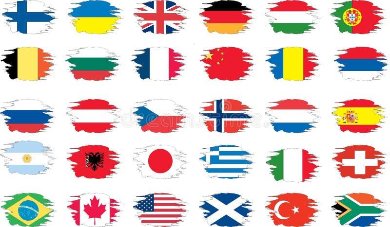 комплект grunge флагов иллюстрация штока