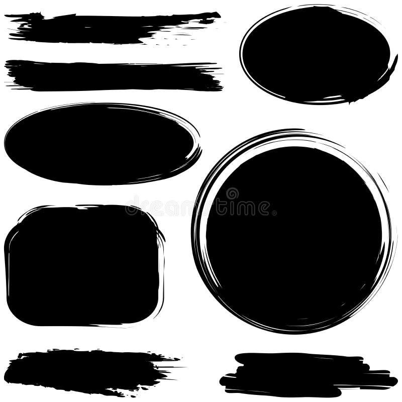Комплект grunge ходов щетки чернил бесплатная иллюстрация