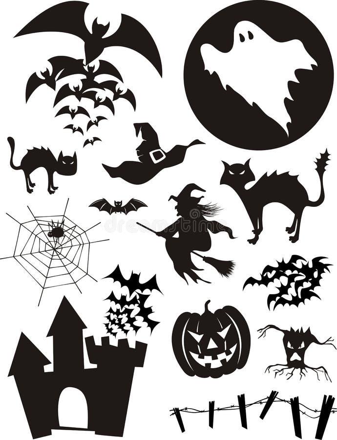 комплект halloween иллюстрация вектора