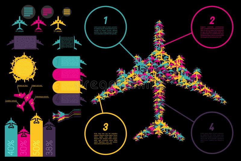 комплект ingographics элементов авиации иллюстрация вектора