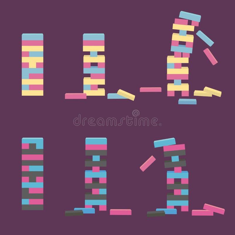 Комплект Jenga Деревянная игра блока иллюстрация штока
