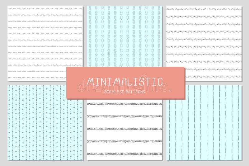Комплект 6 minimalistic безшовных картин бесплатная иллюстрация