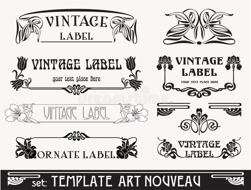 комплект nouveau s искусства бесплатная иллюстрация