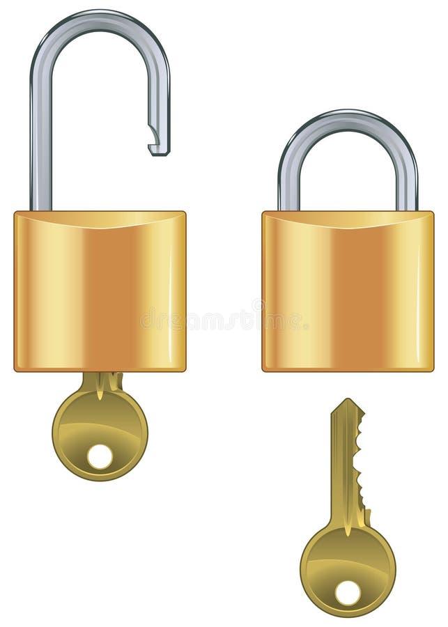 комплект padlock закрытого ключа открытый бесплатная иллюстрация