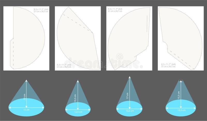 Комплект printable шляп партии Vector шаблон конусов для того чтобы возглавить на праздник бесплатная иллюстрация