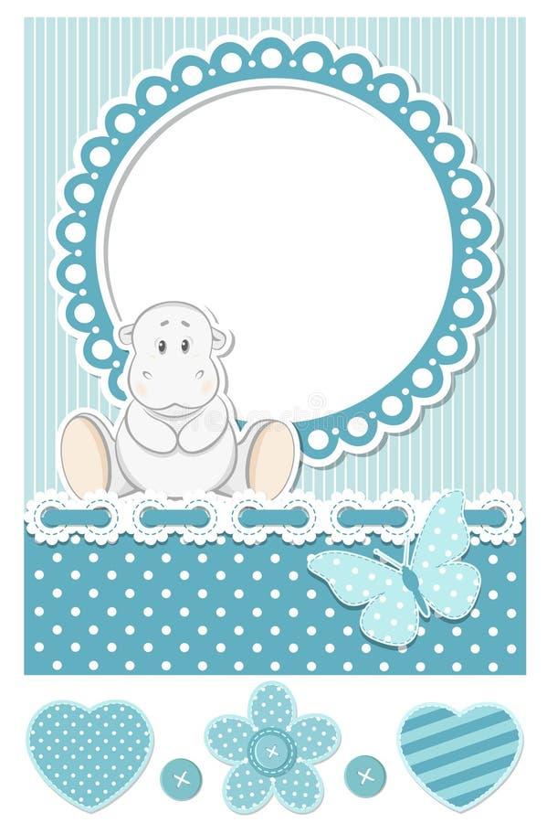 Комплект scrapbook счастливого гиппопотама младенца голубой бесплатная иллюстрация