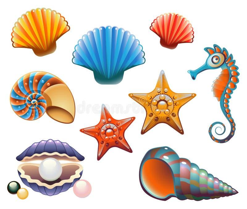 комплект seashell бесплатная иллюстрация