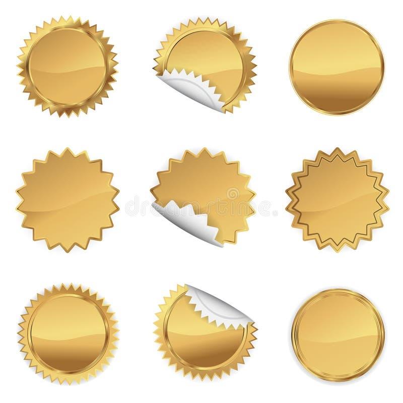 Комплект Starbursts золота, иллюстрация иллюстрация вектора