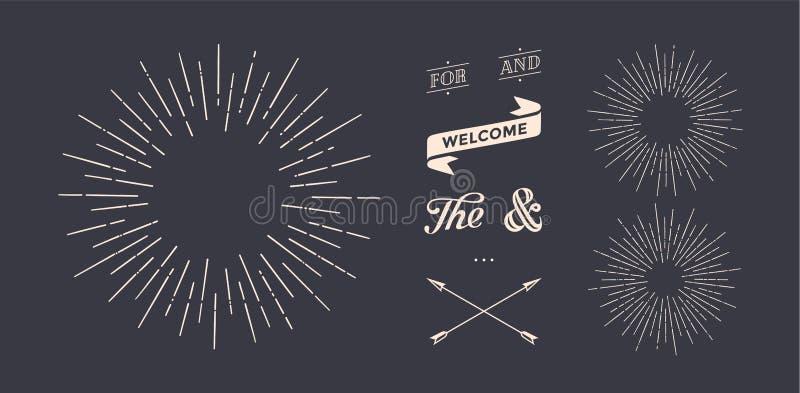 Комплект sunburst, винтажных графических элементов бесплатная иллюстрация
