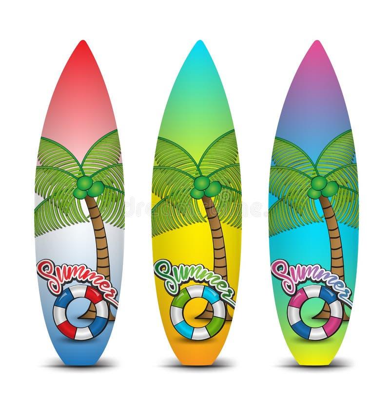 Комплект surfboards для занимаясь серфингом иллюстрации вектора, тропического лета иллюстрация вектора