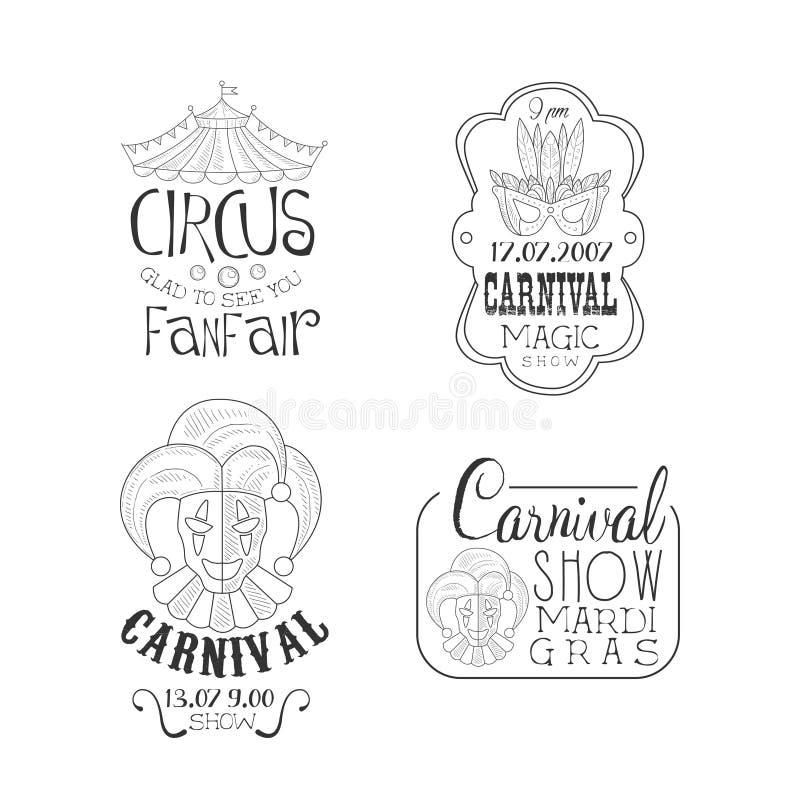 Комплект Vectoe monochrome эмблем цирка и масленицы марди Гра Вручите вычерченные логотипы с верхней частью шатра, маски masquera иллюстрация вектора