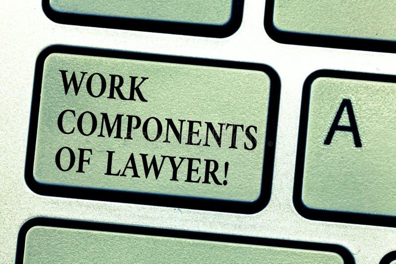 Компоненты работы текста почерка юриста Концепция знача клавишу на клавиатуре согласований решений документов законов юристов стоковые фото