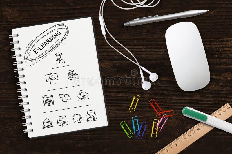 Компоненты цифровой учить как значки на тетради и слове стоковая фотография