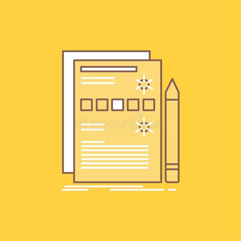 Компонент, данные, дизайн, оборудование, линия системы плоская заполнил значок Красивая кнопка логотипа над желтой предпосылкой д иллюстрация вектора