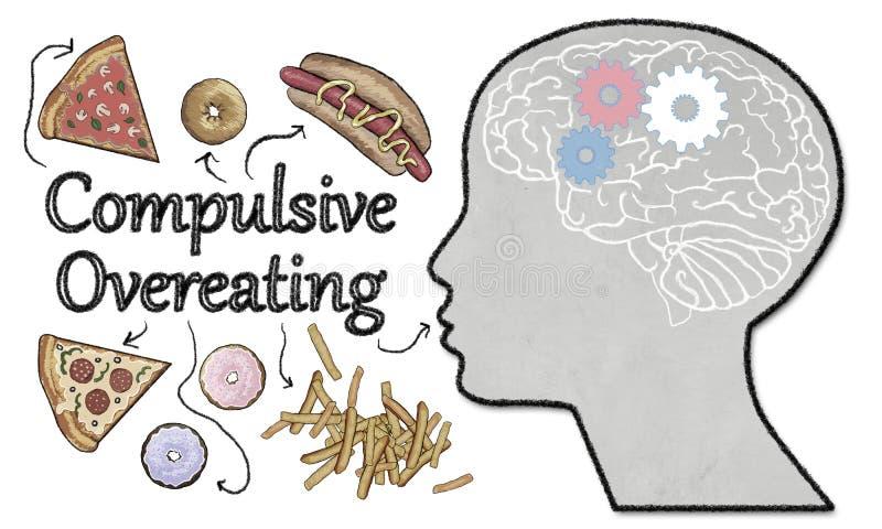 Компульсивная иллюстрация переедать с высококалорийной вредной пищей бесплатная иллюстрация