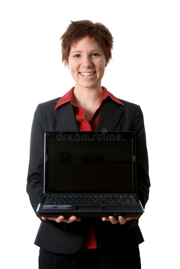 компьтер-книжка девушки счастливая стоковое изображение rf