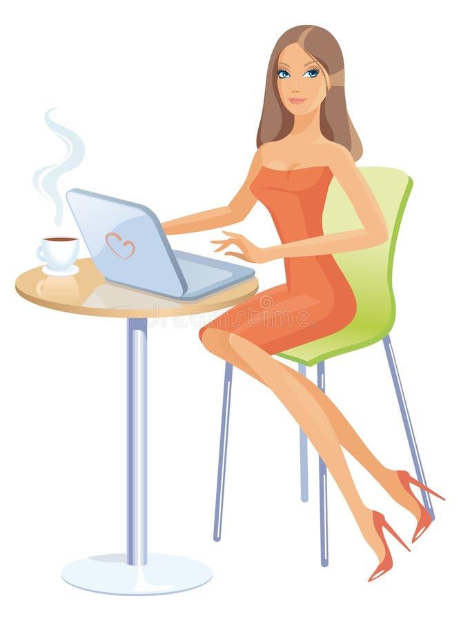 компьтер-книжка девушки бесплатная иллюстрация