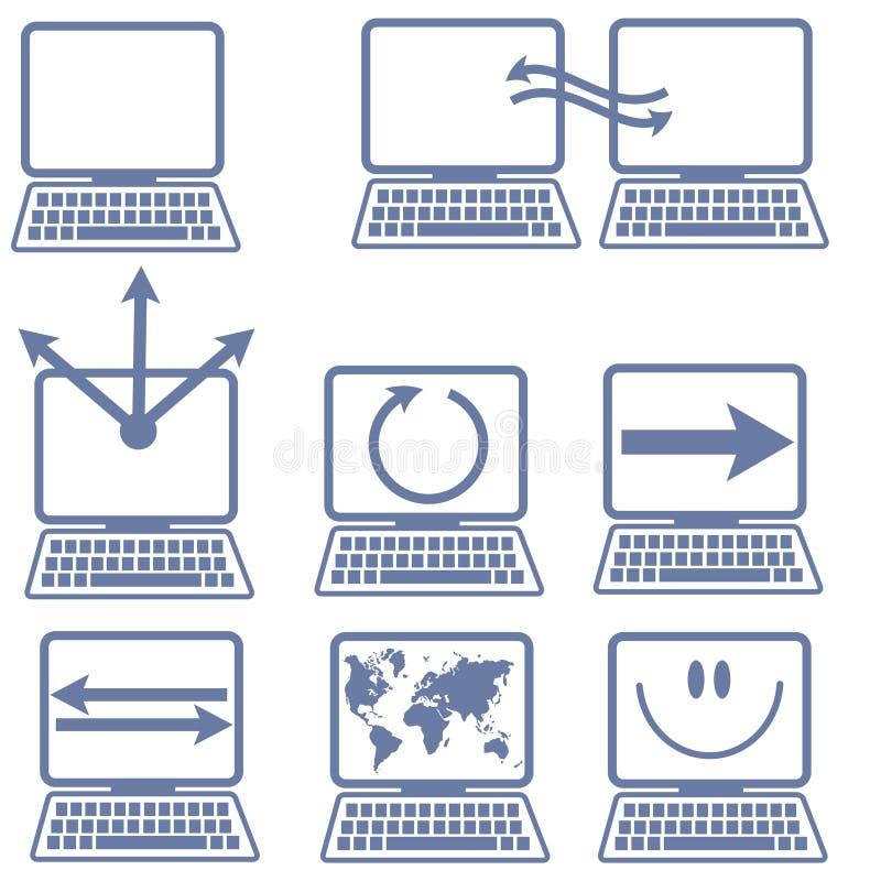 компьтер-книжка икон компьютера иллюстрация вектора