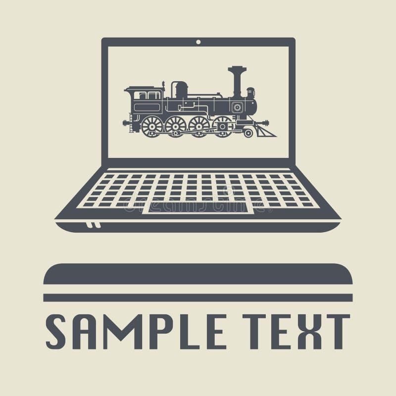 Компьтер-книжка или компьютер-книжка с локомотивными значком или знаком иллюстрация вектора