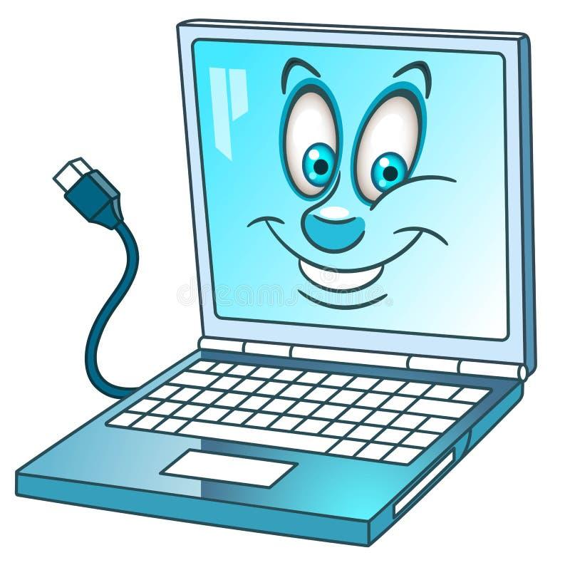 Компьтер-книжка или компьютер-книжка шаржа иллюстрация вектора