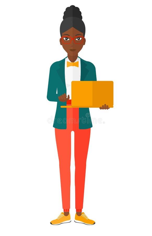компьтер-книжка используя женщину бесплатная иллюстрация